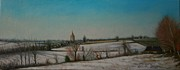 Snowscape Painting Prints - Le Grand Froid - Normandy France Print by Lucinda Coldrey
