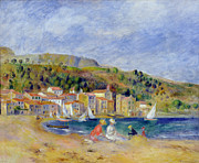 Buildings By The Sea Framed Prints - Le Lavandou Framed Print by Pierre Auguste Renoir