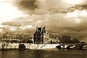 Seine Digital Art - Le Louvre on the Seine Paris by Linda  Parker