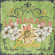 Green Painting Framed Prints - Le Magasin de Jardin Framed Print by Debbie DeWitt