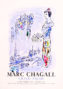 Mourlot Paintings - Le Magicien de Paris by Marc Chagall