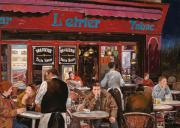 Bar Scene Paintings - Le mani in bocca by Guido Borelli