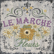Sign Painting Prints - Le Marche Aux Fleurs 1 Print by Debbie DeWitt