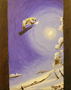 Snowboarding Paintings - Le Method by Matthew Stennett