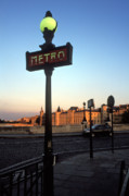 City Scapes Greeting Cards Posters - Le Metro at Dusk Poster by Kathy Yates