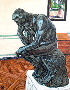 Thinker Paintings - Le Penseur The Thinker by Tom Roderick