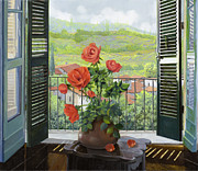 Balcony Painting Posters - Le Persiane Sulla Valle Poster by Guido Borelli