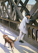 Dog Walking Painting Framed Prints - Le Pont de LEurope Framed Print by Gustave Caillebotte
