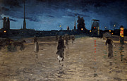 Night Life Paintings - Le Pont de Pierre by Charles Angrand