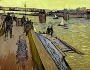 Water Vessels Metal Prints - Le Pont de Trinquetaille in Arles Metal Print by Vincent Van Gogh