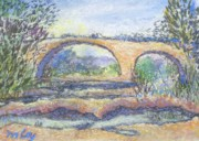 Riviere Paintings - Le pont romain by Marc Loy