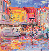 Harbor Painting Framed Prints - Le Port de St Tropez Framed Print by Peter Graham