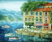 Blue Sea Paintings - Le Port by Marilyn Dunlap