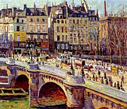 Buildings Framed Prints - Le Quai Conti Paris Framed Print by Maximilien Luce
