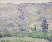Mountain Valley Paintings - Le Ragas near Toulon by Camille Pissarro
