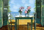 Blue Chairs Prints - Le Rose E Il Balcone Print by Guido Borelli