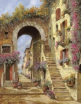 Village Painting Framed Prints - Le Scale E Un Arco Framed Print by Guido Borelli