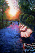 Park Benches Originals - Le Soir by Janice Lawrence