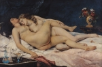 Love Painting Posters - Le Sommeil Poster by Gustave Courbet