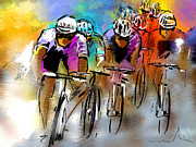 Cycling Drawings Framed Prints - Le Tour de France 03 Framed Print by Miki De Goodaboom