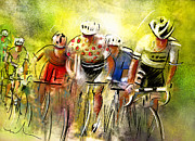 Sports Art Mixed Media Posters - Le Tour de France 07 Poster by Miki De Goodaboom