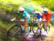 Sports Art Mixed Media Posters - Le Tour de France 11 Poster by Miki De Goodaboom