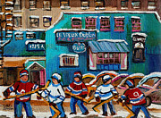 Hockey Players Paintings - Le Vieux Dublin Pub And Restaurant by Carole Spandau