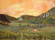 Red Tapestries Textiles Originals - Le Vigne Nel 2010 by Guido Borelli