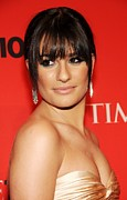 Beige Dress Framed Prints - Lea Michele At Arrivals For Time 100 Framed Print by Everett