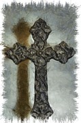 Christian Mixed Media Framed Prints - Lead Me To The Cross 1 Framed Print by Angelina Vick