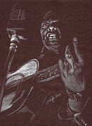 Guitar Player Pastels Posters - Leadbelly Poster by Kathleen Kelly Thompson