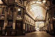 Ripper Prints - Leadenhall Market London sepia toned image Print by David Pyatt