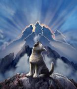 Cute Dog Digital Art Prints - Leader of the Pack Print by Jerry LoFaro