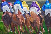 Horse Racing Paintings - Leading the pack by Michael Lee