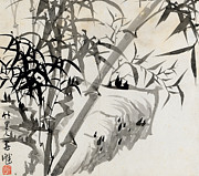 Chinese Ink Prints - Leaf C Print by Rang Tian