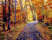 Roads Paintings - Leaf Covered Road by David Lloyd Glover