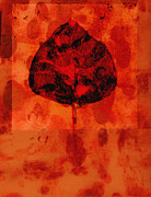 Red Leaf Mixed Media Posters - Leaf Impression Red Poster by Ann Powell