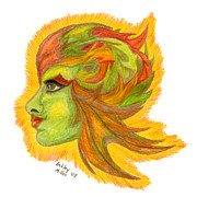 Natural Makeup Drawings Posters - Leaf Lady Poster by Ashley Miller