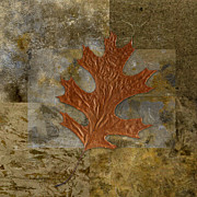 Digital Collage Art Prints - Leaf Life 01 -Brown 01b2 Print by Variance Collections