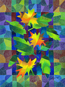 Mosaic Drawings - Leaf Mosaic Drawing by Kristen Fox