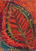 Amazing Mixed Media Prints - Leaf of Fire Print by Anne-Elizabeth Whiteway