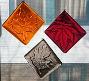 Amber Glass Art - Leaf Ornaments by Kristy Sly