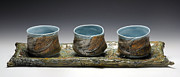 Brook Ceramics - Leaf Tray with Yunomis by Mark Chuck