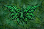 Green Foliage Digital Art Prints - Leafy Bug Print by David Kyte