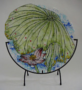 Circle Glass Art Originals - Leafy Lotus by Michelle Rial