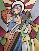 Cross Art Mixed Media Prints - Lean On Me Print by Anthony Falbo