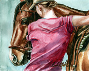 Horse Training Art Prints - Lean On Me Print by Linda L Martin