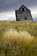 Alberta Prairie Landscape Prints - Leaning A Little Print by Bob Christopher