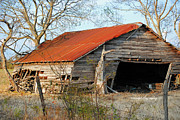 Old Barns Metal Prints - Leaning Barn Metal Print by Lisa Moore