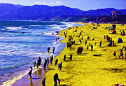 Santa Monica Digital Art Metal Prints - Leaning beach people Metal Print by Thomas Cummings